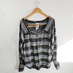 Free People Knit Striped Oversized Top